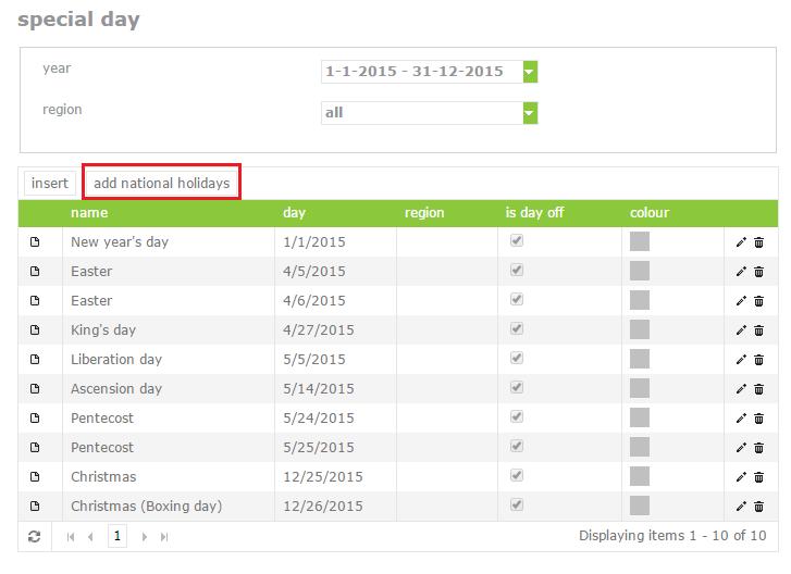 add national holidays
