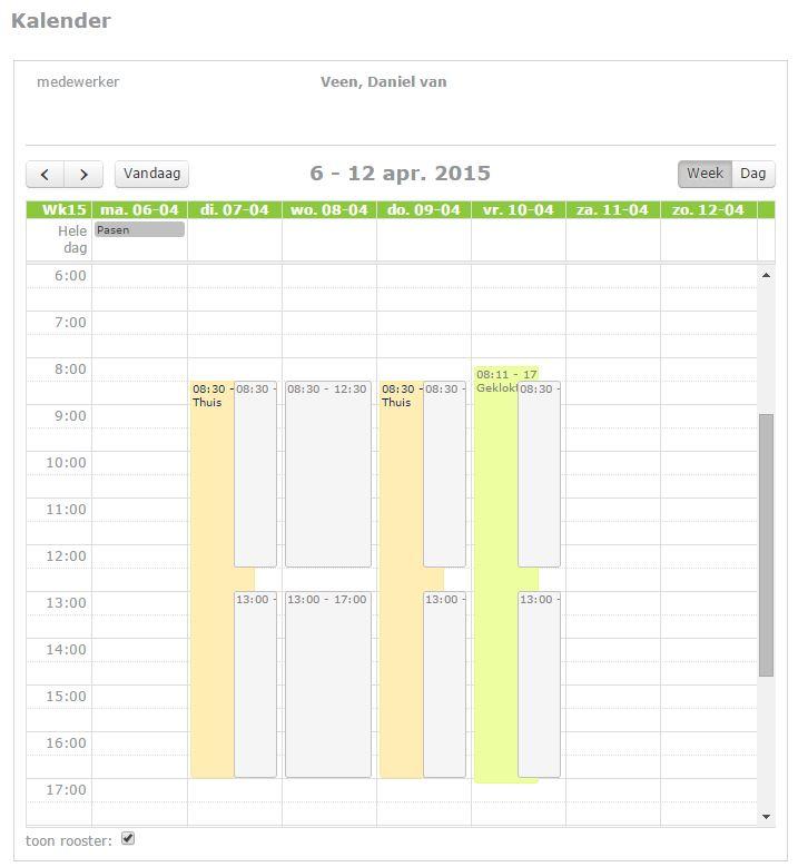 tijd registratie kalender
