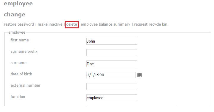 delete employee