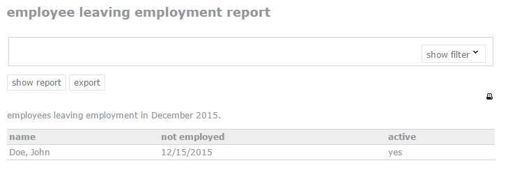 employee leaving employment report